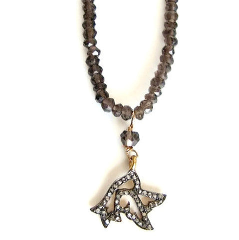 Dove Diamond Necklace - Smokey Quartz  Gemstones -  Freedom Protection - Pranajewelry
