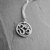 Diamond Om Sterling Silver Yoga Necklace - Harmony Abundance - Pranajewelry - 2