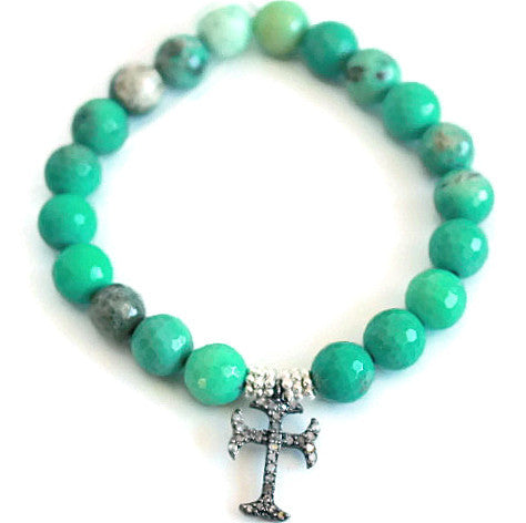 Pave Diamond Cross Bracelet -Chrysoprase - Devotion Courage - Pranajewelry