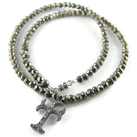 Diamond Cross Pyrite Bracelet Necklace