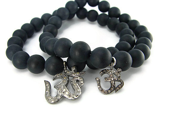 Om Diamond Bracelets | His & Hers Bracelets | Black Onyx, Fidelity Faith - Pranajewelry