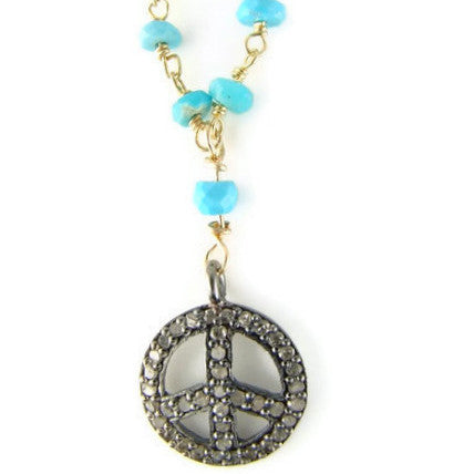 Diamond Peace Sign Turquoise Necklace - Friendship Abundance - Pranajewelry - 1