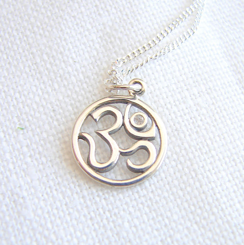 Diamond Om Sterling Silver Yoga Necklace - Harmony Abundance - Pranajewelry - 1