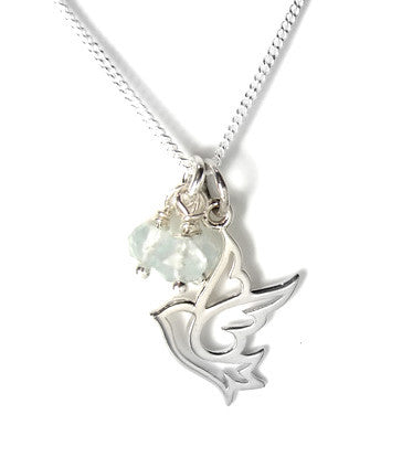 Silver Dove Necklace | Aquamarine Gemstone Necklace | Freedom Compassion - Pranajewelry