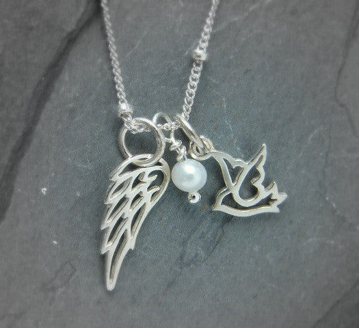 Angel Wing Necklace | Dove Pearl Silver | Finding My Freedom - Pranajewelry