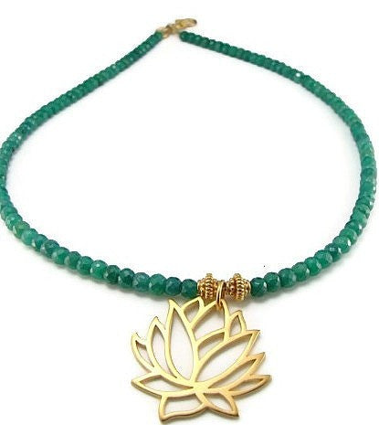 Lotus Emerald Gemstone Necklace - Peace Prosperity Growth - Pranajewelry