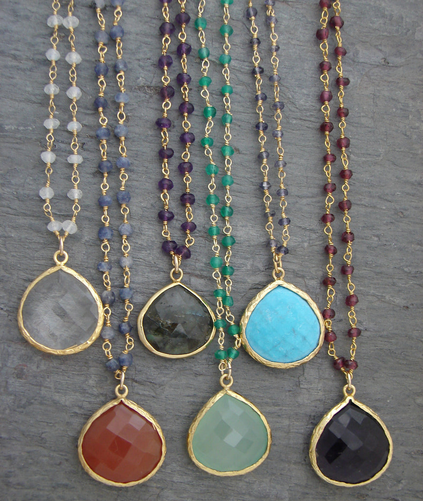 40% off Daily Deal - Empowered Gemstone Necklaces - Truth  Hope  Prosperity - Pranajewelry