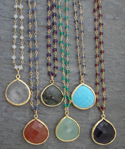 Empowered Gemstone Necklaces - Truth  Hope  Prosperity - Pranajewelry