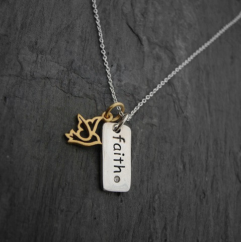 Diamond Necklace | Faith Dove Necklace  | Faith Freedom - Pranajewelry
