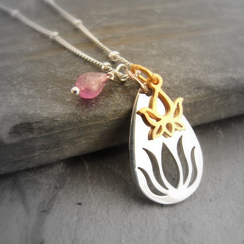 Lotus Necklace | Rising Silver Lotus Necklace |Tourmaline