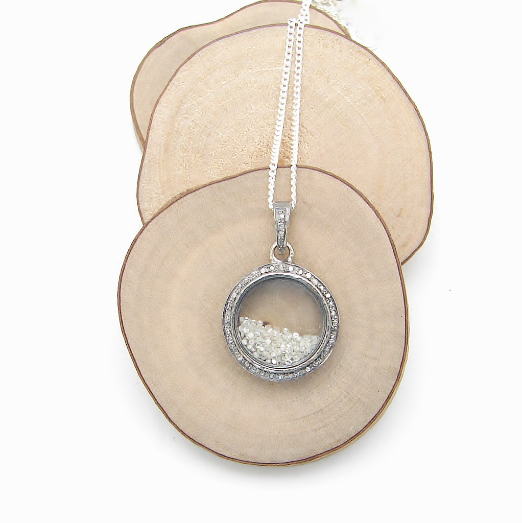Floating Shaker Diamond Necklace | Prosperity | Pave Diamond - Pranajewelry - 1