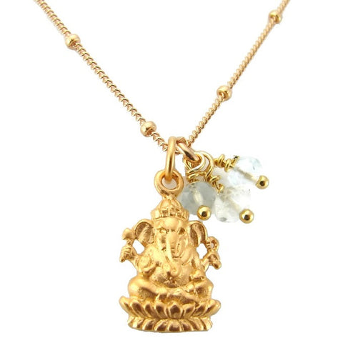 Ganesh Necklace w Aquamarine - Wisdom Compassion - Remover Of Obstacles - Pranajewelry