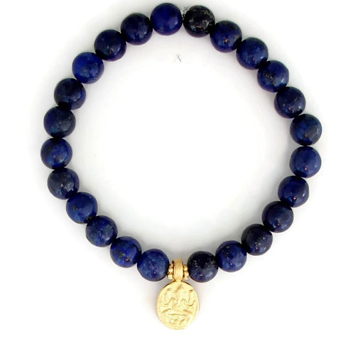 Ganesh Bracelet | Lapis Gemstones | Protection | Remover of Obstacles | Love Protection - Pranajewelry