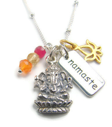 Yoga Jewelry, Ganesh Namaste Lotus Necklace - Remover of Obstacles Yoga Inspired Necklace - Pranajewelry