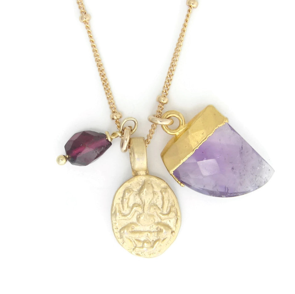 Ganesh necklace | Amethyst Tusk | Garnet Gemstone | Write your story ........ - Pranajewelry