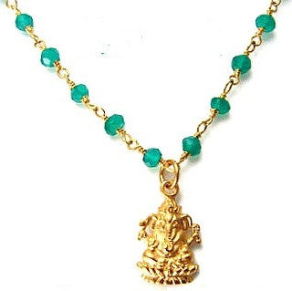 Ganesh Necklace | Green Onyx Necklace