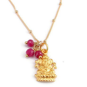 Ganesh Gold Necklace with Rubies - Remover of Obstacles Prosperity - Pranajewelry