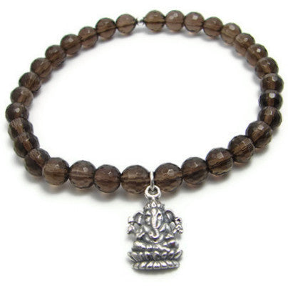Ganesh Bracelet,  Smokey Quartz gemstone
