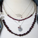 Silver Lotus Petal Necklace | Garnet Gemstones | Awakening
