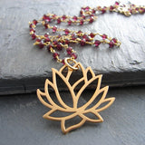 Large Lotus with Garnet Gemstone Necklace