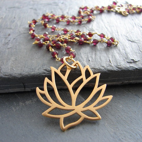Large Lotus with Garnet Gemstone Necklace -Love Inner Beauty - Pranajewelry