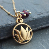Lotus Necklace |  Garnet Gemstones | Gold Necklace  | Love New Beginnings - Pranajewelry - 1