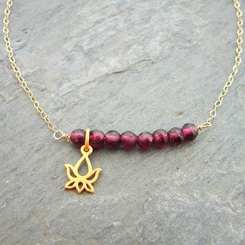 Blooming Lotus Garnet Bar Necklace
