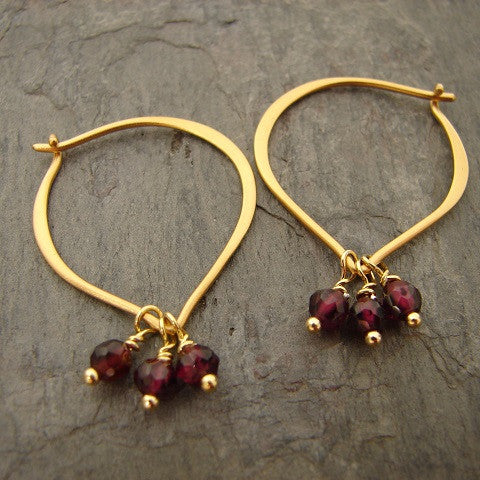 Garnet Gold Lotus Petal Earrings- Love New Beginnings - Pranajewelry