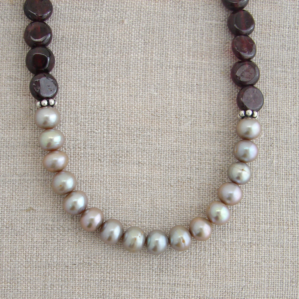 Garnet Lotus Necklace | Pearl Necklace | Purity Love New Beginnings