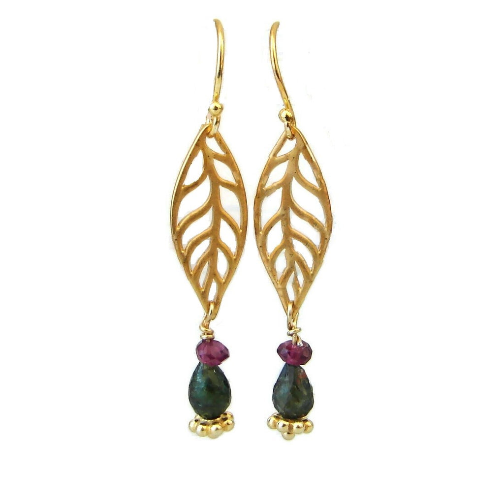 Leaf gemstone earrings