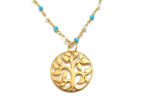 Tree of Life Necklace- Turquoise and Pearl Nurture Friendship - Pranajewelry