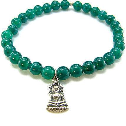 Green Onyx Gemstone Bracelet with Sterling Silver Buddha - Pranajewelry