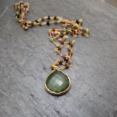 Tourmaline Green Amethyst Necklace | Compassion Love - Pranajewelry