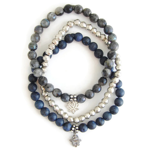 Diamond Hamsa Bracelet set