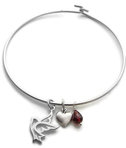 Dove Charm Bangle | Heart Peace Dove | Garnet Silver Bangle | Love Freedom - Pranajewelry