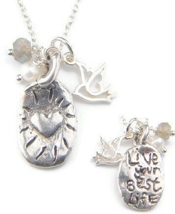 Live Your Best Life Necklace - Live for the Moment Heart - Pranajewelry