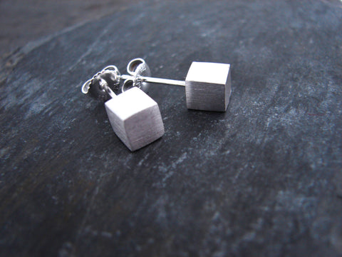 Sterling Silver Cube Earrings - Simple beauty - Pranajewelry - 1