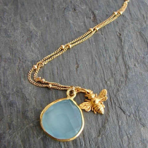 Bee & Chalcedony Necklace - Eternal Wisdom Dreams - Pranajewelry