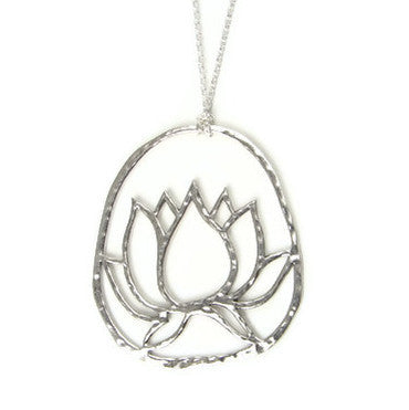 Large Lotus Pendant Sterling Silver Necklace- Inner Beauty - Pranajewelry
