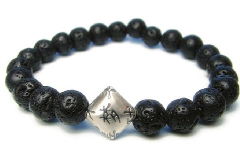 Mens Dream Bracelet- Chinese Calligraphy Silver Lava Rock - Pranajewelry
