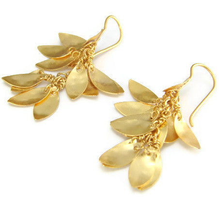 Gold Leaf Cluster Earrings - Inspired by Nature - Pranajewelry