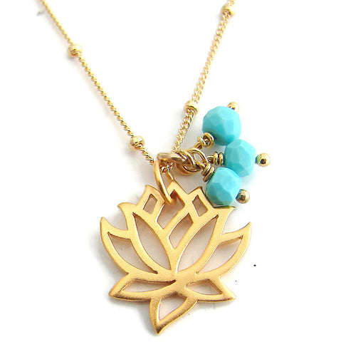Lotus Turquoise Gold Necklace -New Beginnings Friendship - Pranajewelry