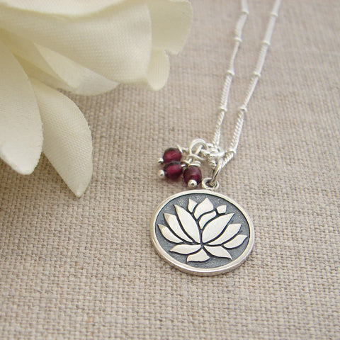 Lotus Pendant | Garnet Gemstone | Spiritual Growth