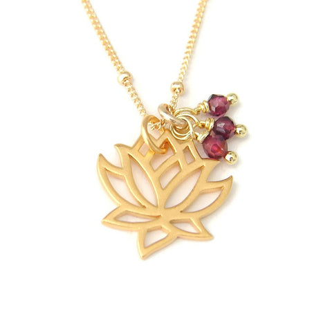 Lotus Gold Necklace - Garnet Gemstones Pranajewelry