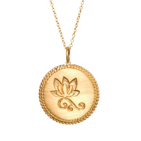Lotus Etched Gold Necklace - New Beginnings Inner Beauty - Pranajewelry