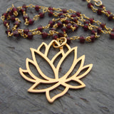 Large Lotus with Garnet Gemstone Necklace -Love Inner Beauty - Pranajewelry - 2