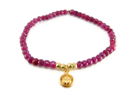 Ruby Gemstone Lotus Bracelet  - Inner Beauty Love Compassion - Pranajewelry