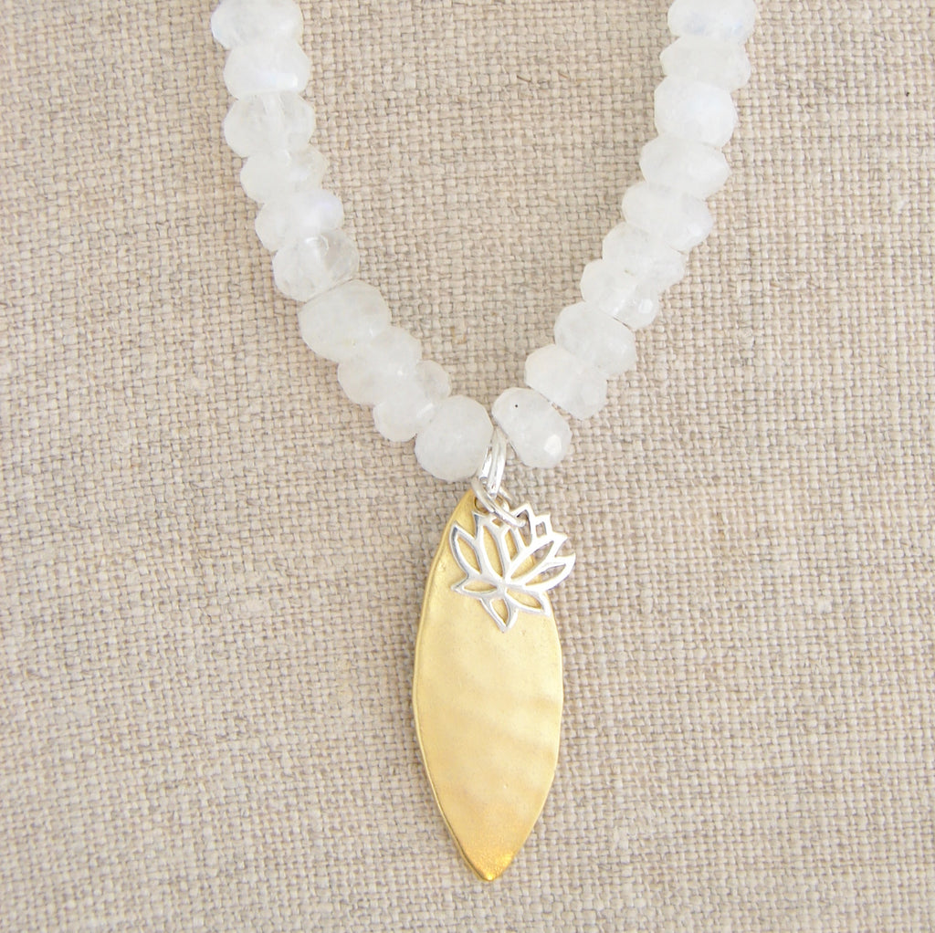 Moonstone Lotus Necklace | New Beginnings, Purity, Beauty - Pranajewelry - 1