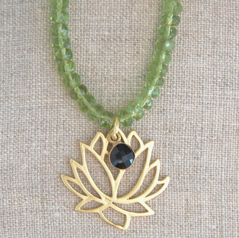 Lotus Necklace | Peridot Gemstones | Black Onyx | Resilience, Beauty, Peace - Pranajewelry - 1