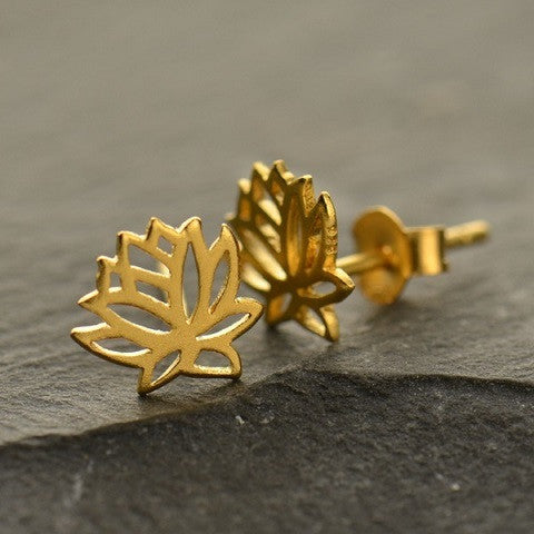 Mini Lotus Gold Earrings Studs - New Beginings - Pranajewelry